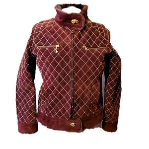 Baby Phat Plum and Gold Quilted Leather Jacket